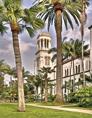 Building in Santa Barbara with palm trees